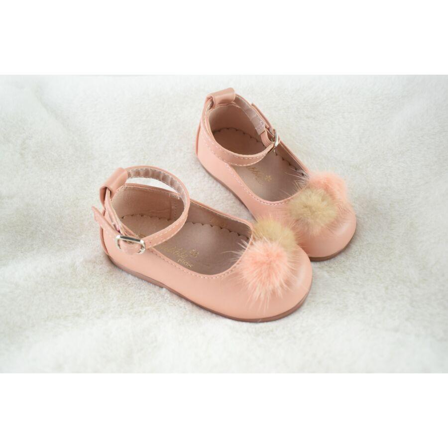 LUNA rózsaszín alkalmi mübőr pomponos pántos cipő