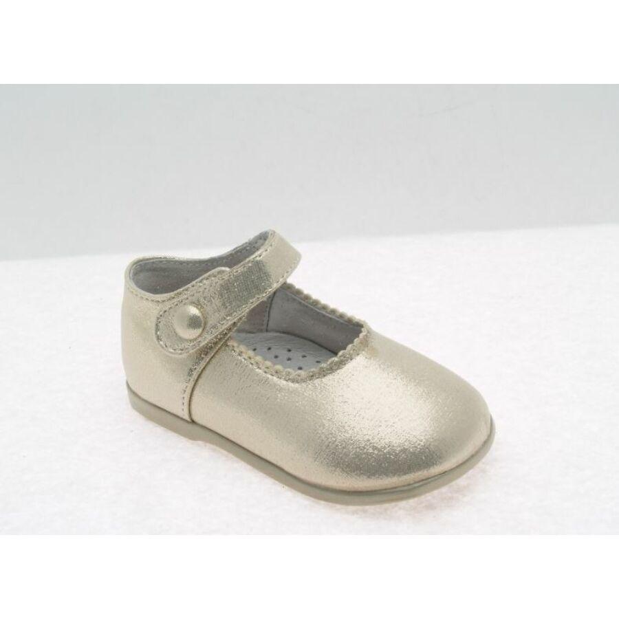 FELICIDAD arany színú alkalmi fényes kislány cipő - tépőzáras