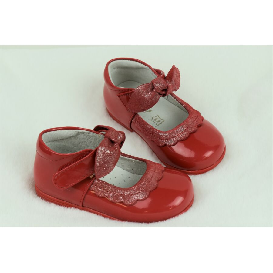VIVIR piros alkalmi lakkbőr kislány cipő masnival - tépőzáras