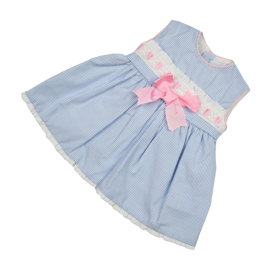Maria világoskék kislány ruha, rózsaszín masnival