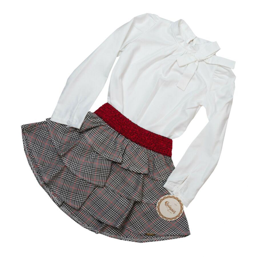 Josefina lány szett - fehér blúz és kockás piros gumis derekú szoknya