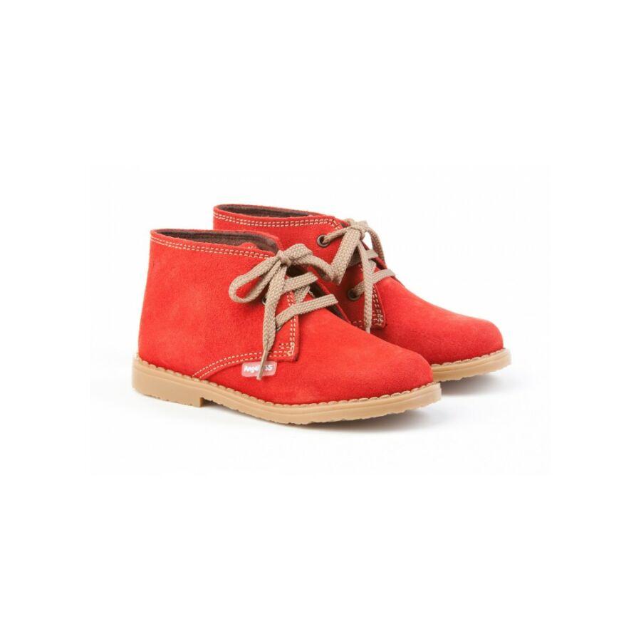 ANGELITOS piros nyersbőr fűzős lány cipő