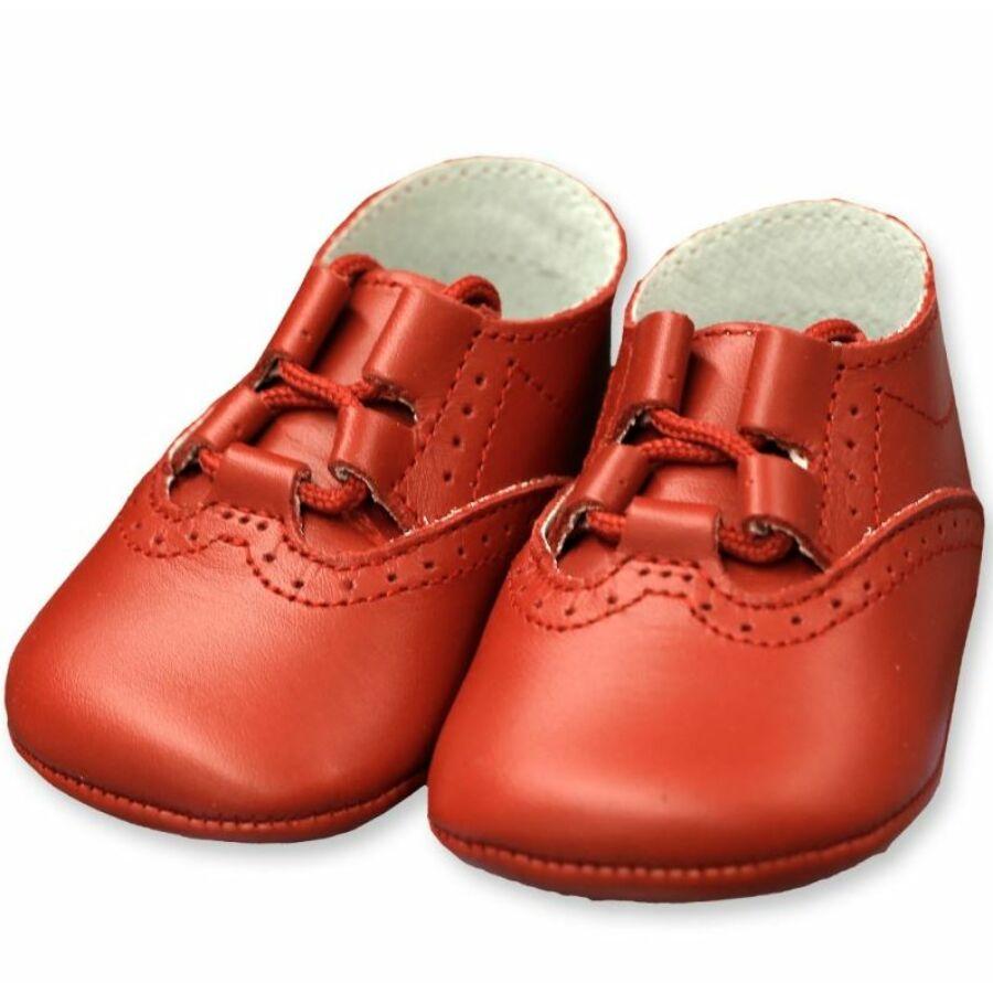 BÉBÉ bőr puhatalpú alkalmi babacipő, piros (kocsicipő)-19