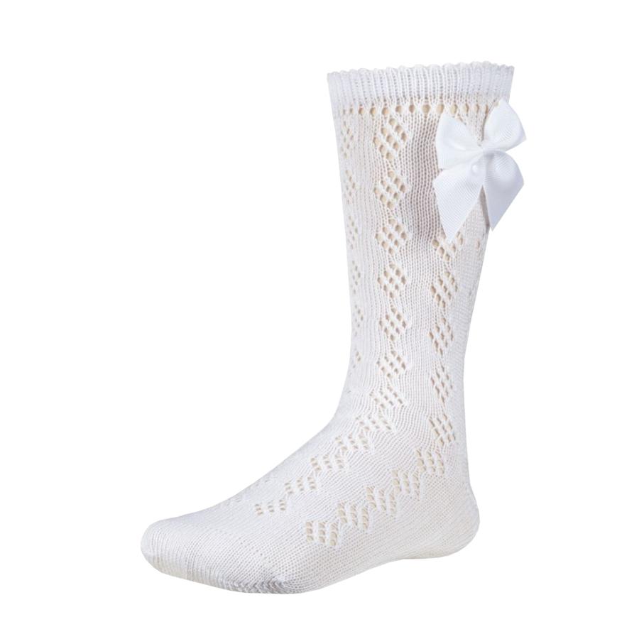 Festiva hosszú fehér masnis lány zokni