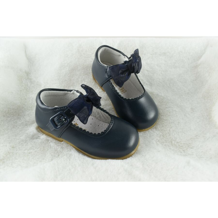 MERCEDITA sötétkék alkalmi bőr lány cipő levehető masnival