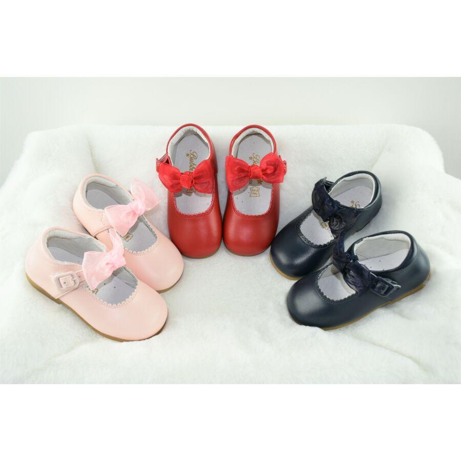 MERCEDITA rózsaszín alkalmi bőr lány cipő levehető masnival
