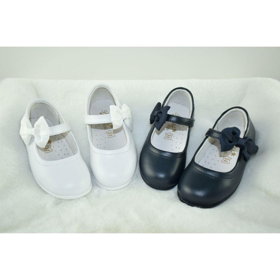 MAGNIFICA fehér alkalmi bőr lány cipő masnival - tépőzáras
