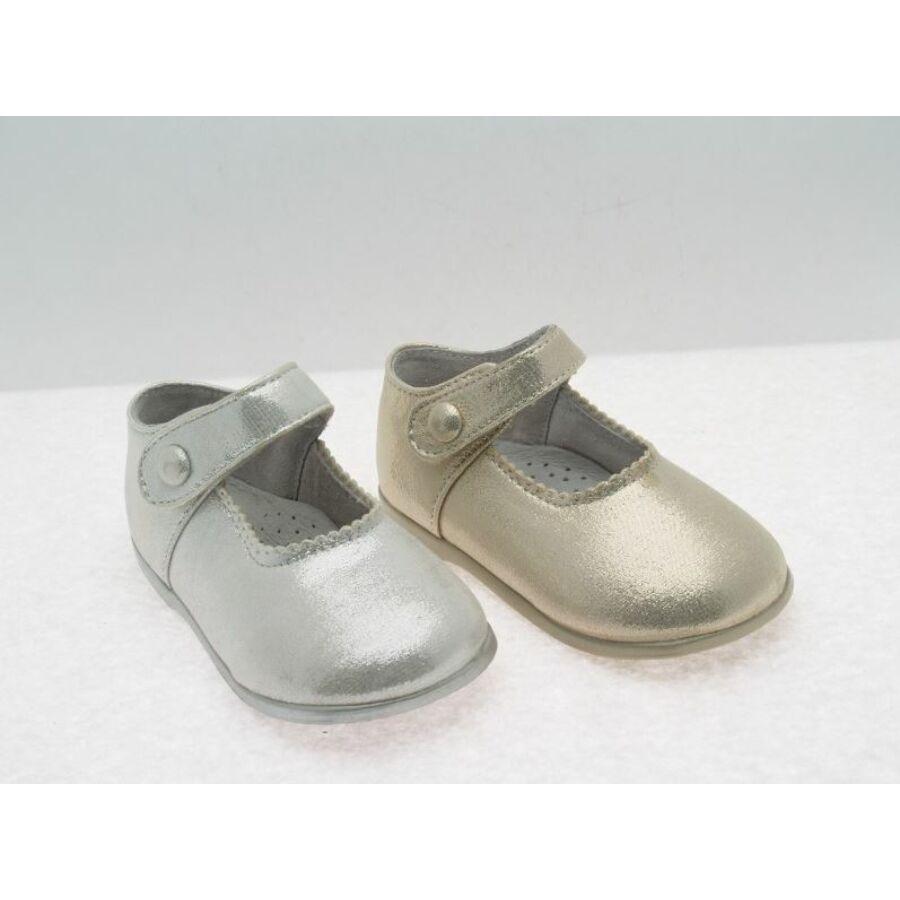FELICIDAD ezüst színú alkalmi fényes kislány cipő - tépőzáras