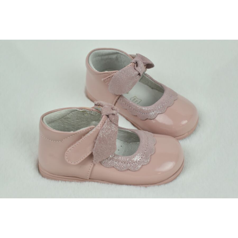 VIVIR rózsaszín alkalmi lakkbőr kislány cipő masnival - tépőzáras