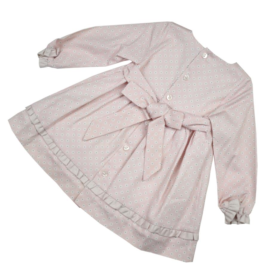 CUENCA rózsaszín kislány ruha, hátul megkötős