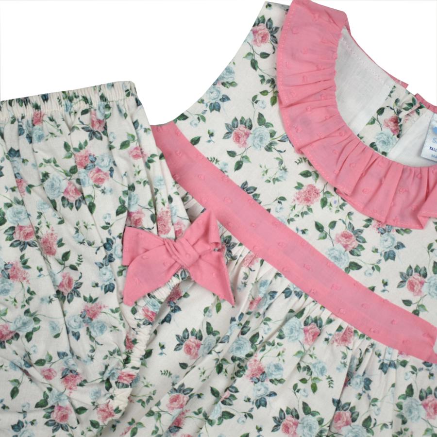 LLEIDA virágos kislány ruha masnis pelenkatartó bugyival