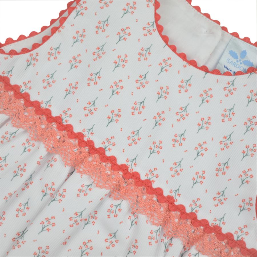 PAMPLONA virágos horgolt csipke rátétes romper / baba napozó