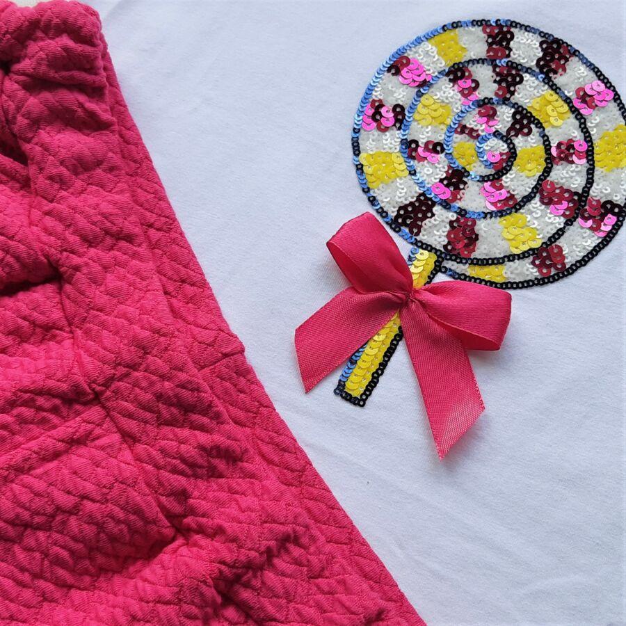 Lollipop lány szett - flitteres masnis poló és rövidnadrág
