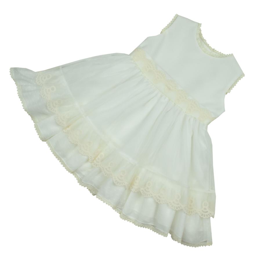 Mieres különleges fehér alkalmi ruha, ekrü csipke rátéttel