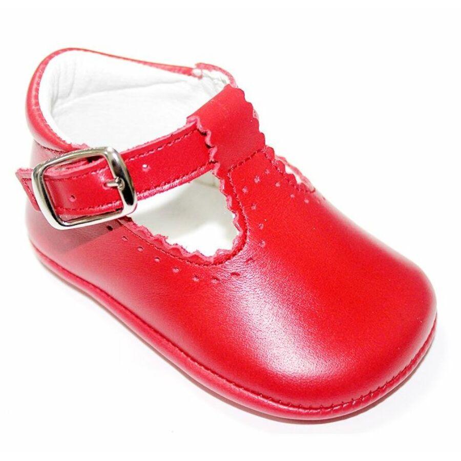 BÉBÉ bőr puhatalpú alkalmi babacipő, piros (kocsicipő)-18